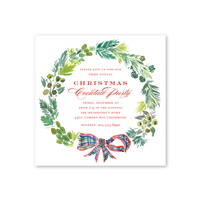 Plaid Wreath Square Invitation