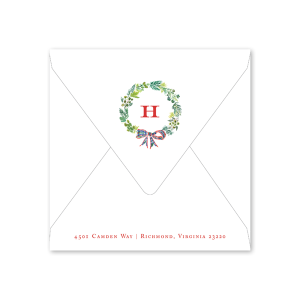 Plaid Wreath Square Invitation Envelopes