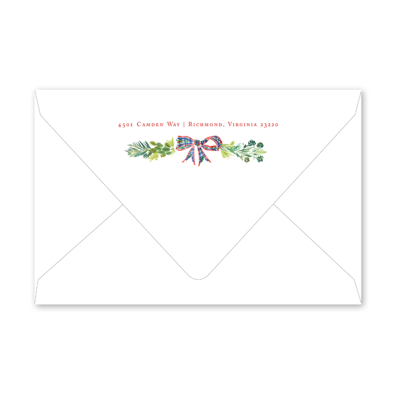 Plaid Wreath II Envelopes