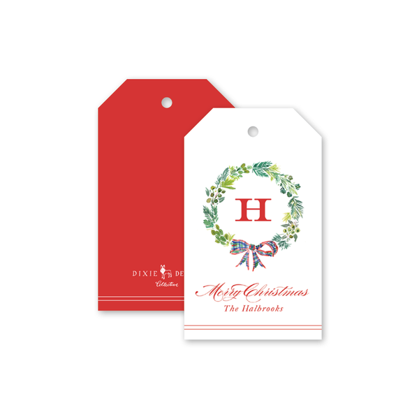 Plaid Wreath Monogram Gift Tags