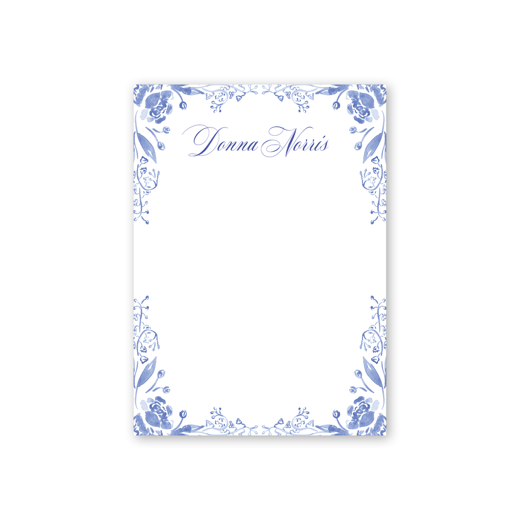 Blue and White Notepad