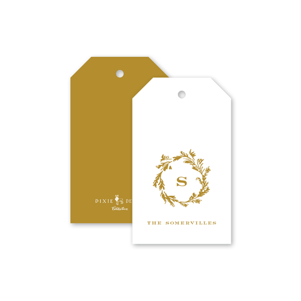 Cedar Monogram Gold Invitation Gift Tags