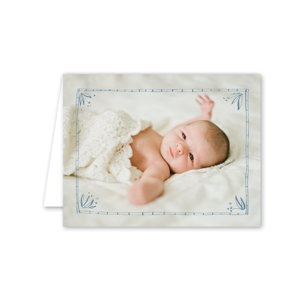 Floral Frames Blue Birth Announcement