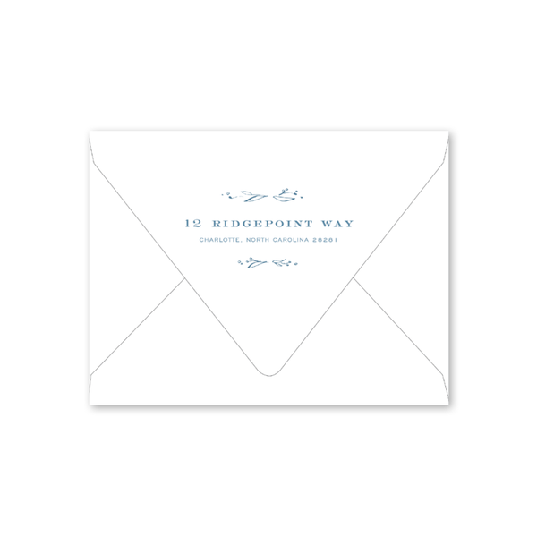 Floral Frames Blue Birth Announcement Envelopes