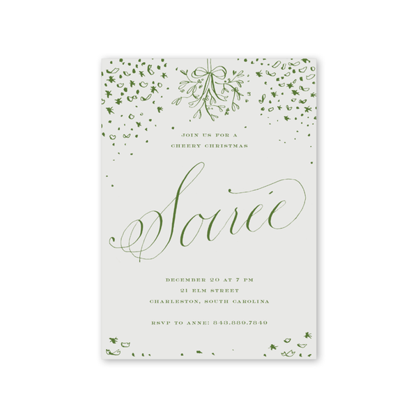 Confetti Soiree Green Invitation