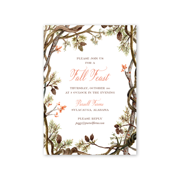 Pines and Vines Fall Invitation