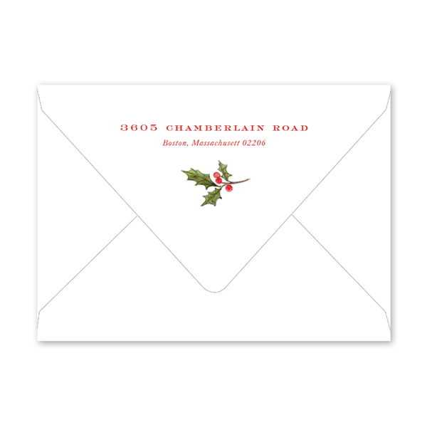 Poinsettia and Holly Invitation Envelopes