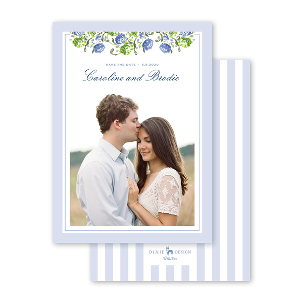 Hydrangea Floral Save The Date with Photo