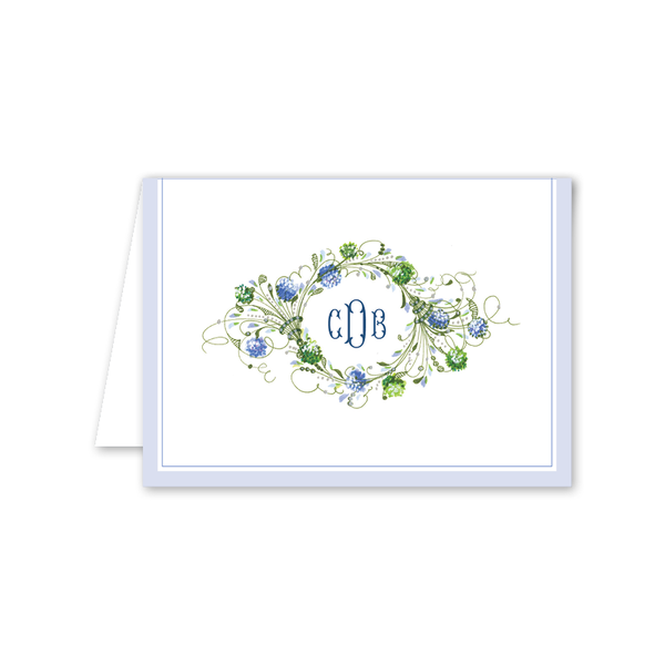 Hydrangea Monogram Folded Notecard
