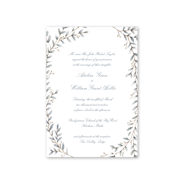 Laurel Script Wedding Invitation