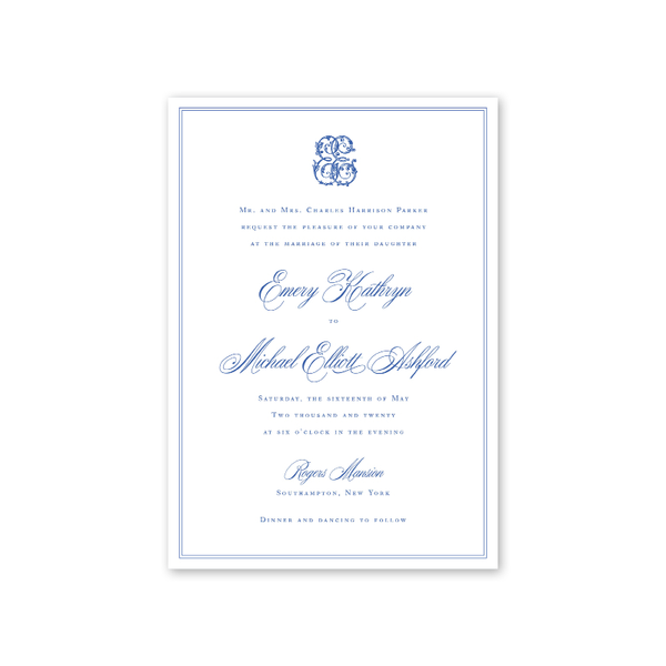 Hampton Monogram Wedding Invitation