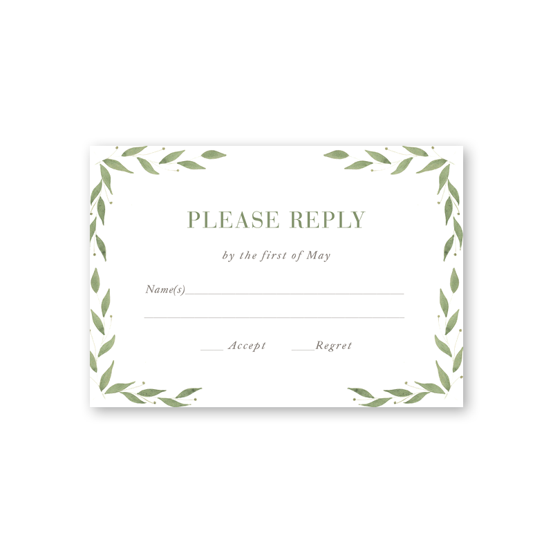 Greenery Reply Card