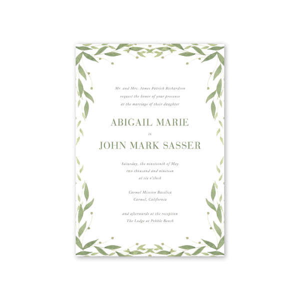 Greenery Border Wedding Invitation