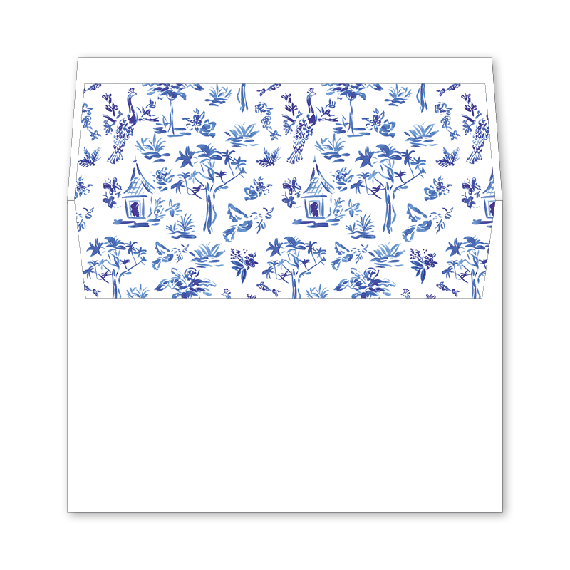 Toile Wedding Invitation Envelope Liner