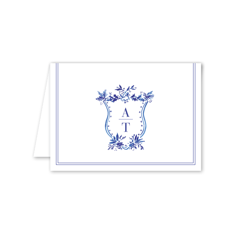 Blue Toile Crest Notecard