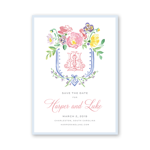 Wildflower Monogram Save The Date