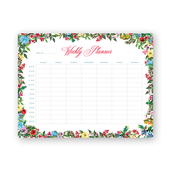 Polynesian Floral Hourly Planning Notepad