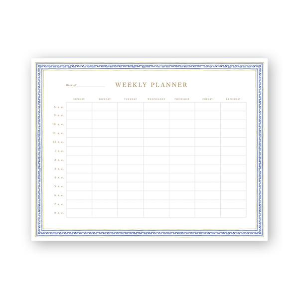 Greek Key Trimmings Hourly Planning Notepad