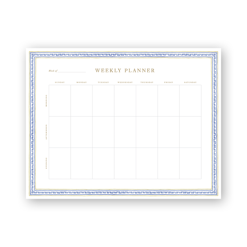 Greek Key Trimmings Weekly Planning Notepad