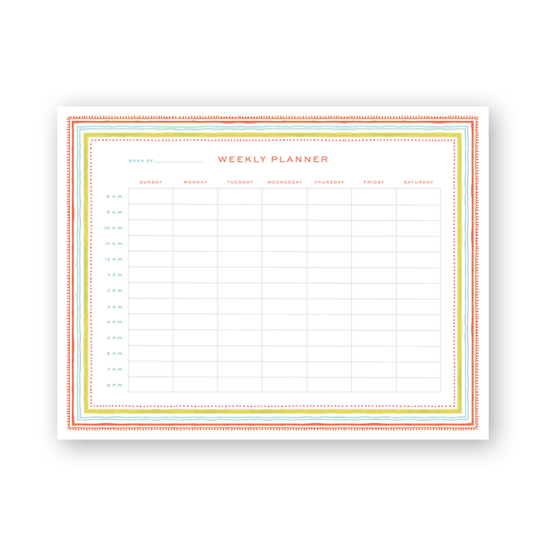 Spring Palette Hourly Planning Notepad