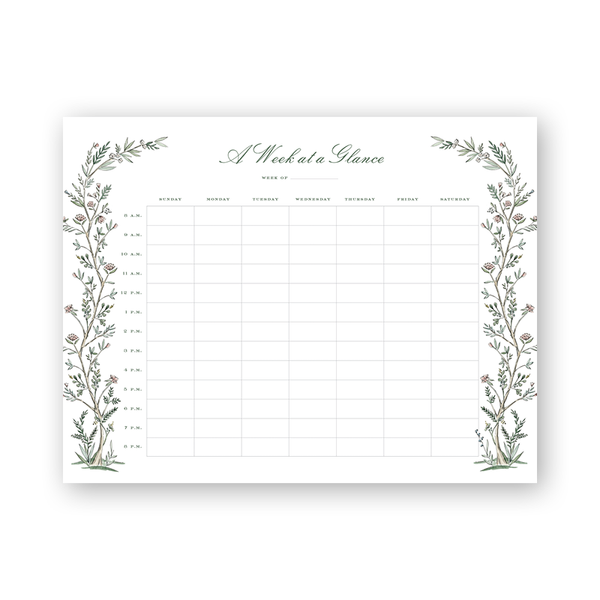 Blush Blossom Hourly Planning Notepad
