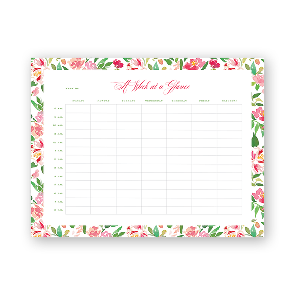 Eugenia's Garden Hourly Planning Notepad