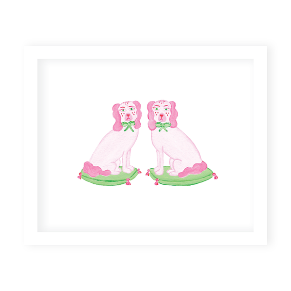 Staffordshire Dogs Pink Art Print