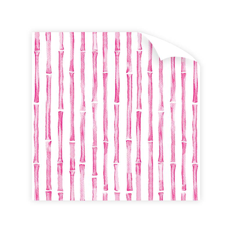 Bamboo Border Pink Wrapping Paper Roll