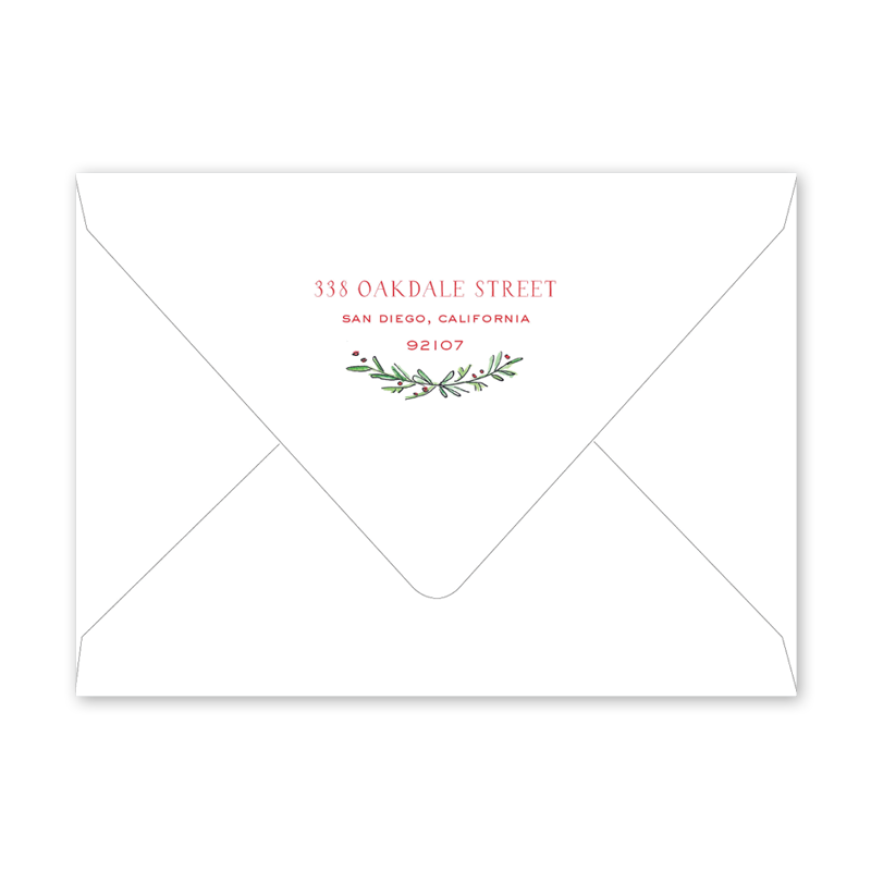spruces and holly border invitation envelopes