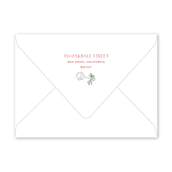 Spruces and Holly Stork Blue Border Birth Announcement Envelopes