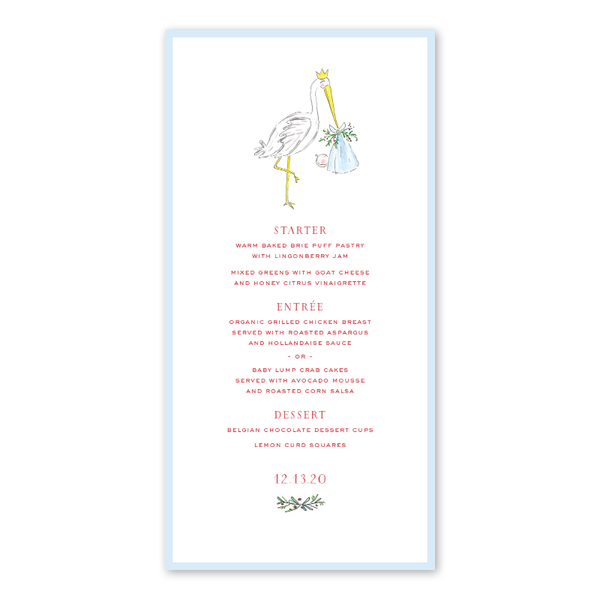 Spruces and Holly Stork Blue Menu