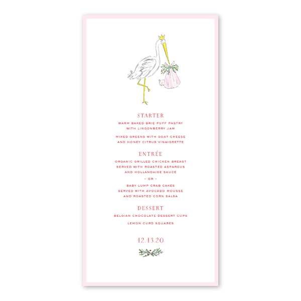 Spruces and Holly Stork Pink Menu