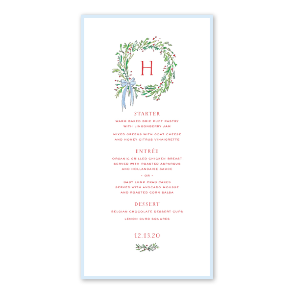 Spruces and Holly Wreath Menu
