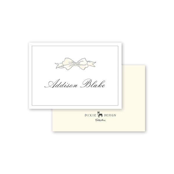 Cream Bow Calling Card