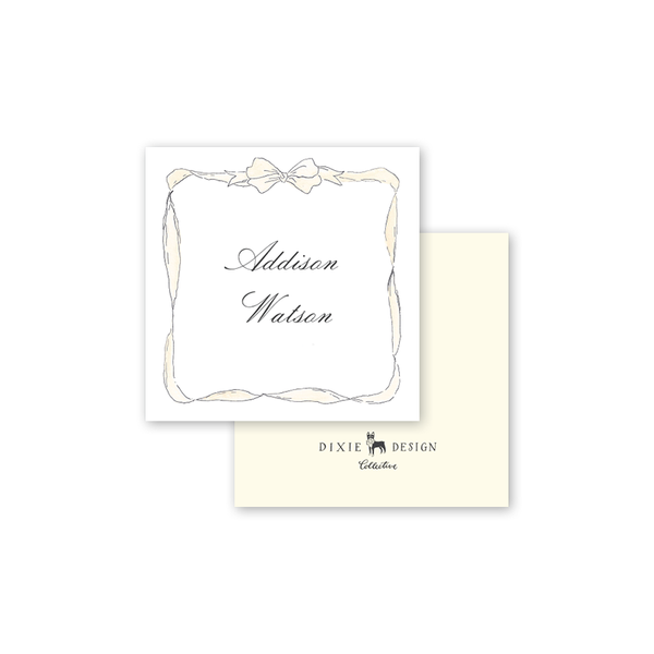 Cream Bow Square Calling Card