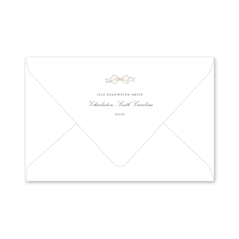 Cream Bow Birth Announcement Envelopes