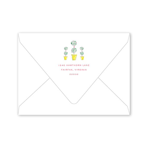 Front Door Topiary Moving Announcement Envelopes