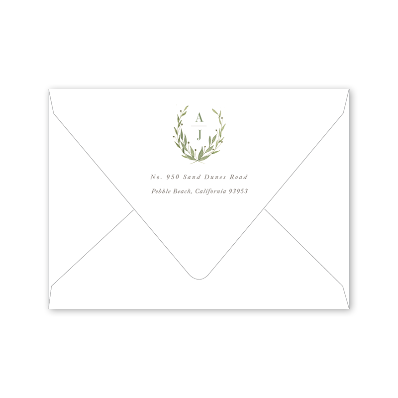 Greenery Save the Date Landscape Envelopes