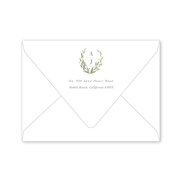 Greenery Save the Date Portrait Envelopes