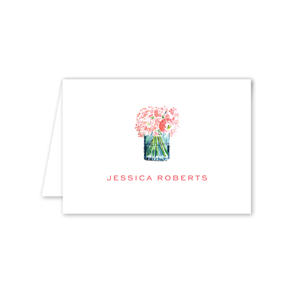 Champagne and Rosé Floral Folded Notecard