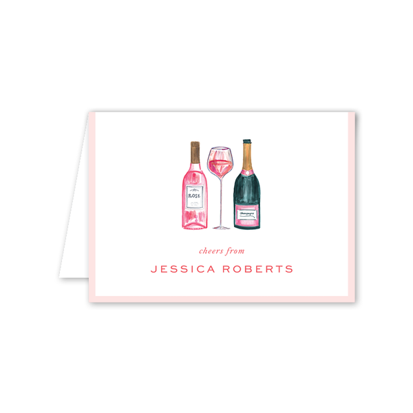 Champagne and Rosé Folded Notecard