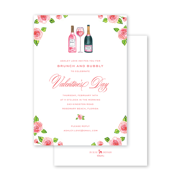 Champagne and Rosé Valentine Invitation