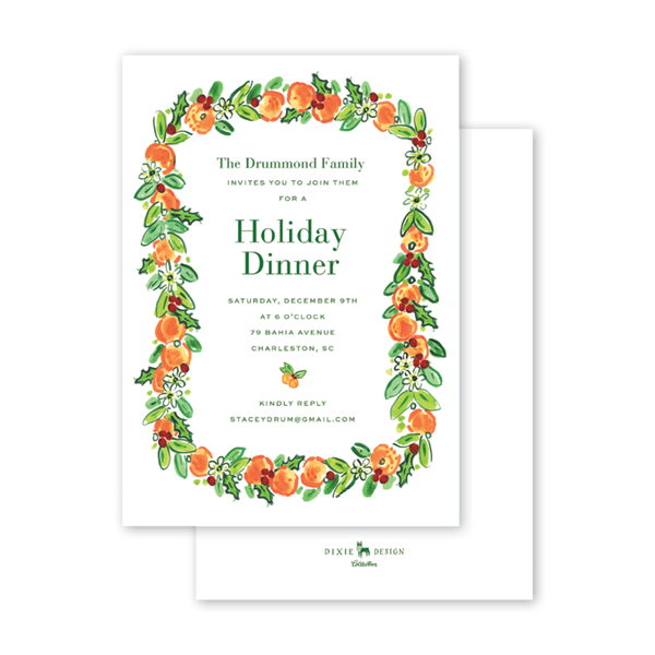 Charleston Citrus Orange Invitation