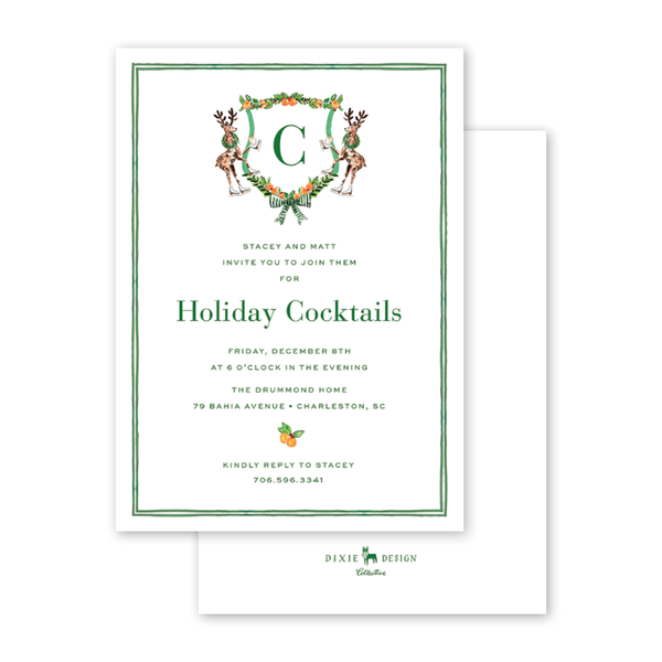 Charleston Citrus Reindeer Invitation