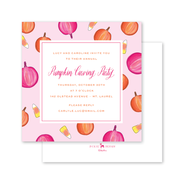Fall Festival Pink Pumpkins Invitation