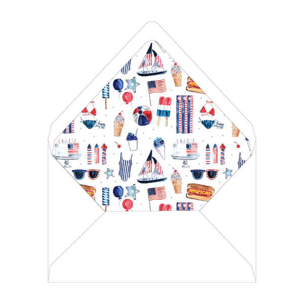 All American Summer Folded Notecard Liner