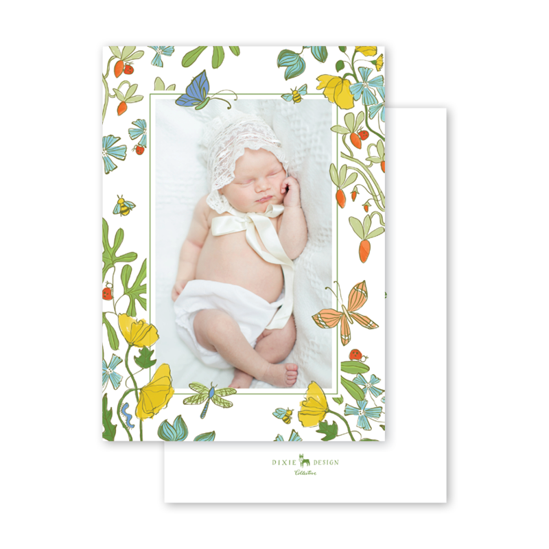 Critter Garden Border Dragonfly Birth Announcement