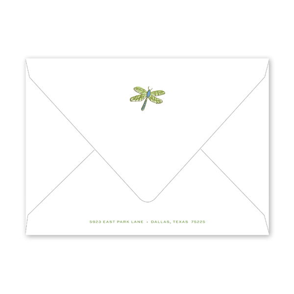 Critter Garden Border Dragonfly Birth Announcement Envelopes