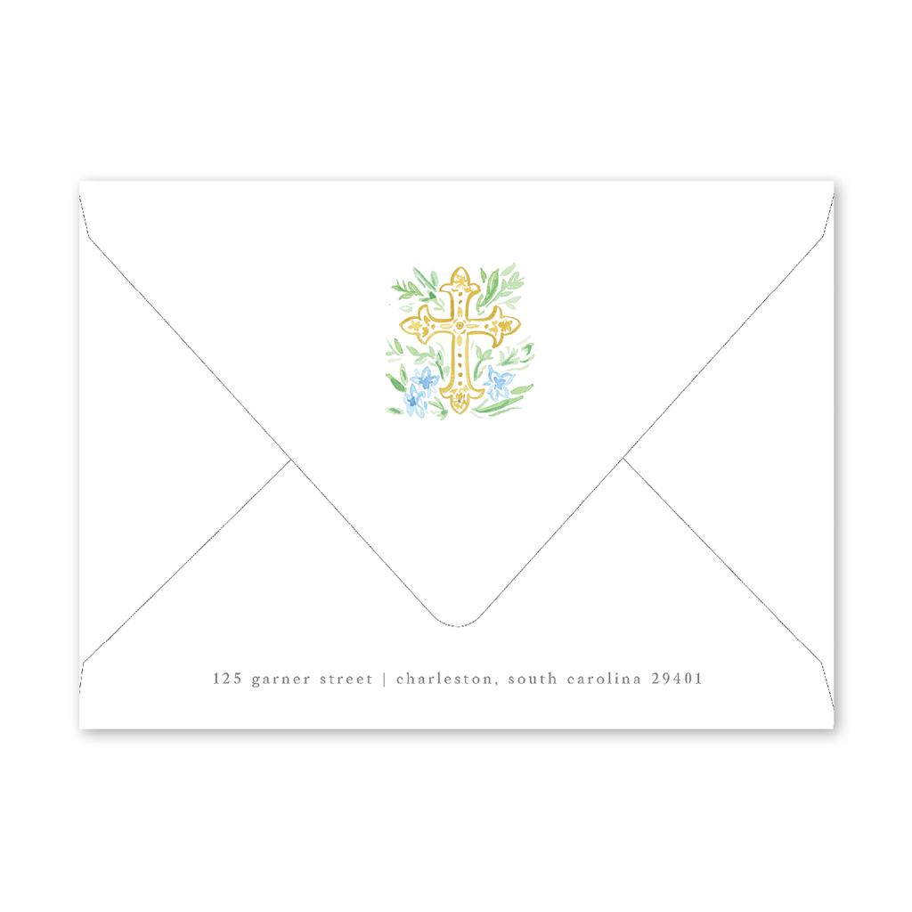 Blue Cross Baby Shower Envelopes
