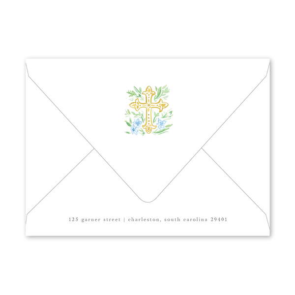 Blue Cross Baptism Invitation Envelopes